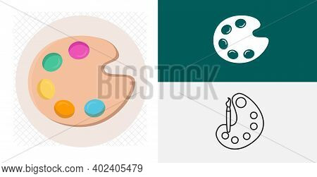 Painting Kit With Brush. Paint Palette Flat Icon. Paints Palette Isolated Vector Icon. Painting Kit