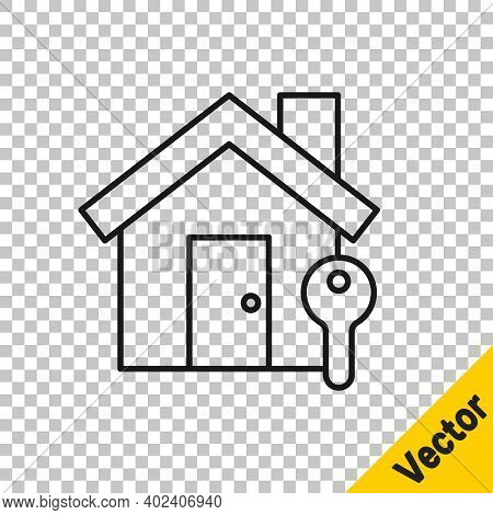 Black Line House With Key Icon Isolated On Transparent Background. The Concept Of The House Turnkey.