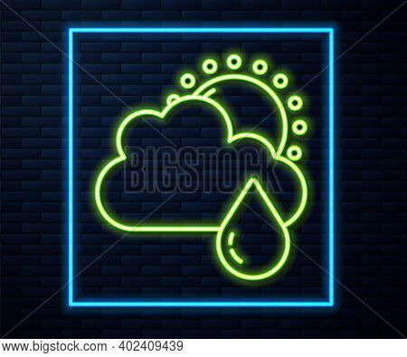 Glowing Neon Line Cloud With Rain And Sun Icon Isolated On Brick Wall Background. Rain Cloud Precipi