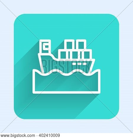 White Line Cargo Ship With Boxes Delivery Service Icon Isolated With Long Shadow. Delivery, Transpor