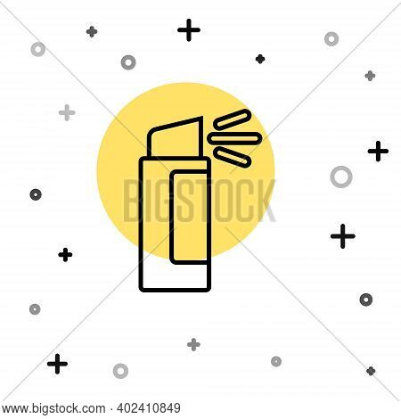Black Line Pepper Spray Icon Isolated On White Background. Oc Gas. Capsicum Self Defense Aerosol. Ra