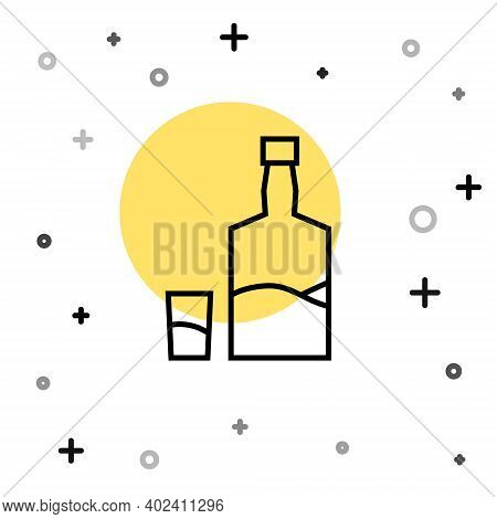 Black Line Tequila Bottle And Shot Glass Icon Isolated On White Background. Mexican Alcohol Drink. R