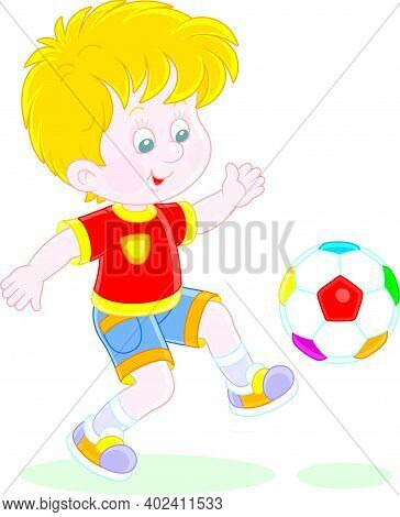 Little Football Player Kicking A Colorful Ball At A Match Or Training On A Sports Field, Vector Cart