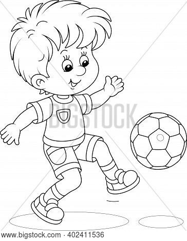 Little Football Player Kicking A Ball At A Match Or Training On A Sports Field, Black And White Outl