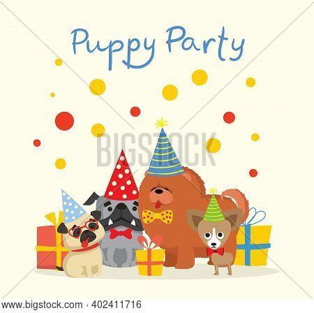 Puppy Party Background. Cute Greeting Card With Presents And Puppies Dog In The Flat Style