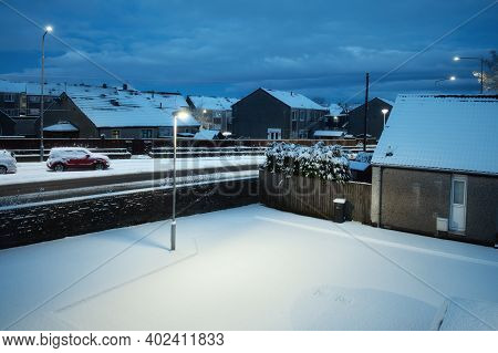 View From The Top Of The Snowy Evening Courtyard Of A Scottish Town In Winter. Armadale, West Lothia