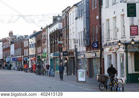 High Street Shops In Newbury, Berkshire In The Uk, Taken On The 19th November 2020