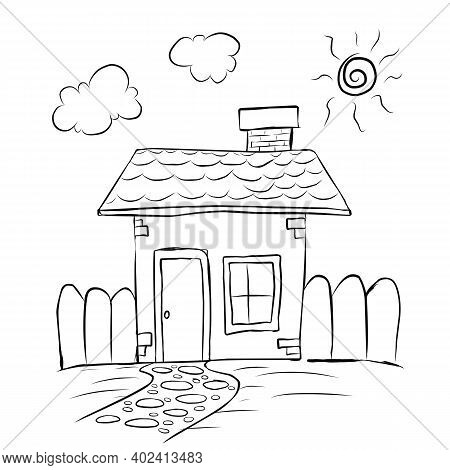 Kid Style Line Drawing Of A House With Chimney, Kid Style Line Drawing Of A House With Chimney