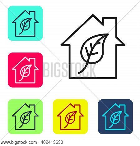 Black Line Eco Friendly House Icon Isolated On White Background. Eco House With Leaf. Set Icons In C