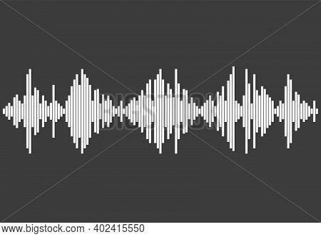 White Audio Wave On Gray Background. Modern Music Equalizer Element. Flat Isolated Waveform. Jpeg