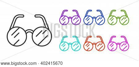 Black Line Eyeglasses Icon Isolated On White Background. Set Icons Colorful. Vector