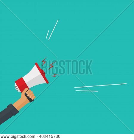 Loud Shout Or Announcement Attention From Megaphone Loudspeaker In Hand Vector Flat Cartoon Illustra
