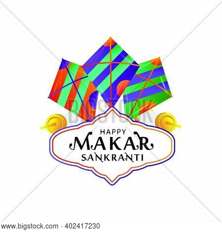 Badge Or Emblem Happy Makar Sankranti Design Vector Isolated On White Background