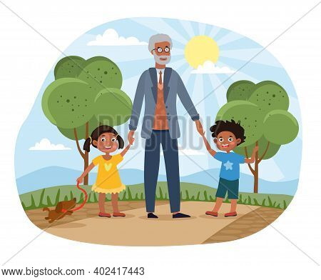 Grandchildren Walking In The Park With Grandad Holding Them By The Hands On A Hot Sunny Summer Day,