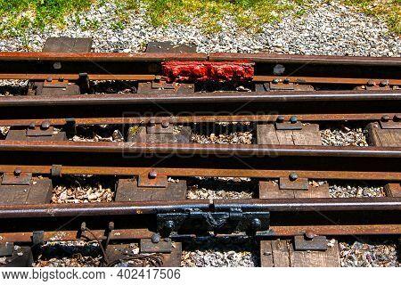 Railway Equipment. Installation Of Rail Fastening. Railway Turnout Mechanism. Filming Of The Soviet-