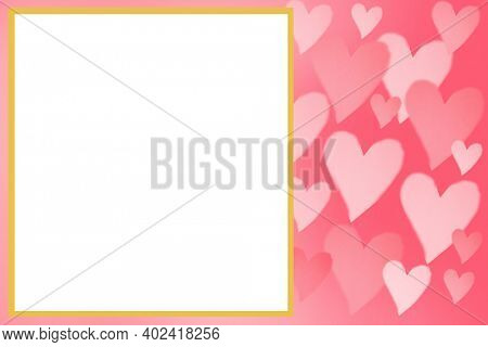 Valentine's Day. Happy Valentines day Card with Room for Text or Image. Pink Valentines Day Hearts on a pink background. February 14th is Valentines Day. A time for Lovers around the world.