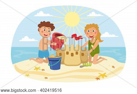Young Brother An Sister Building A Sand Castle On A Tropical Beach At The Seaside On A Hot Sunny Sum