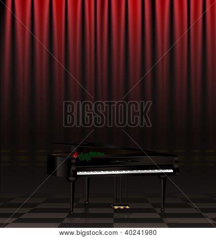 black piano and scene