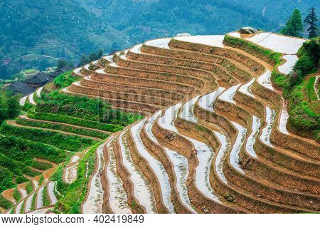 Guilin, China rice terraces from above.