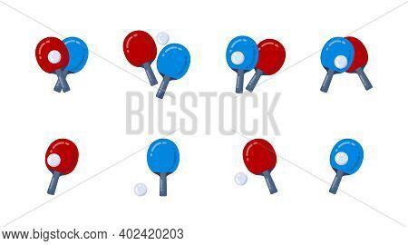 Table Tennis Bat Paddle Ball Set. Ping-pong Racquet Icons