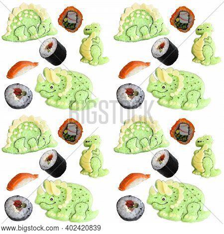 The Pattern Is Composed Of Dinosaurs, Dragons Made Of Rice,  Sushi,  Sake. Kyaraben, Bento. Creative