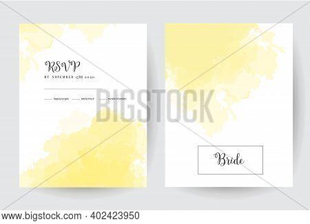 Illuminating Yellow Watercolor Vector Splash Cards.simple Minimalist Backgrounds, Hand-drawn Waterco