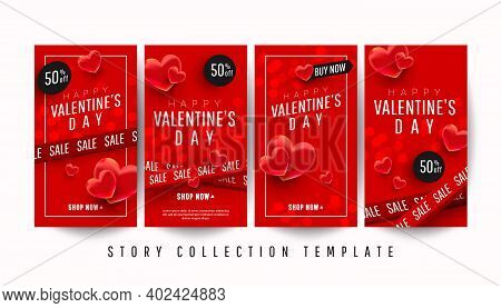 Happy Valentines Day Promo Story Banner Collection Set With 3d Hearts On A Red Background.