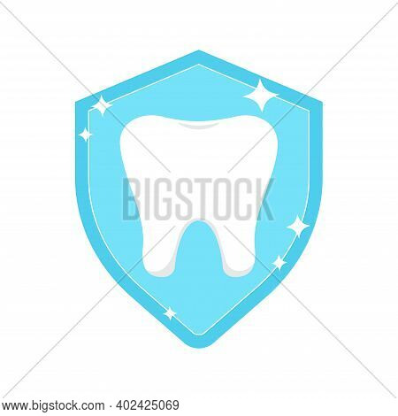Tooth On Shield Protection Logo Icon Isolated On White Background. Teeth Insurance Dental Logotype.