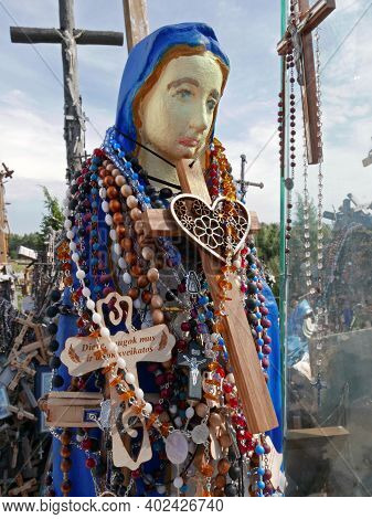 Maria On The Hill Of The Crosses The Hill Of Crosses Is An (inter) National Pilgrimage Site Near The