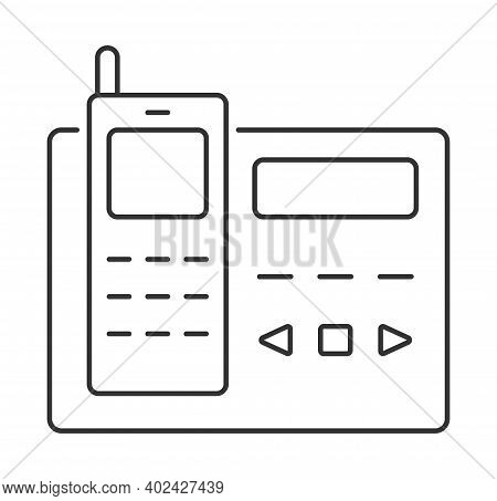 Handset Icon Vector. Help, Technical Support And 24 7 Assistance Sign In Outline Style. Commutator,