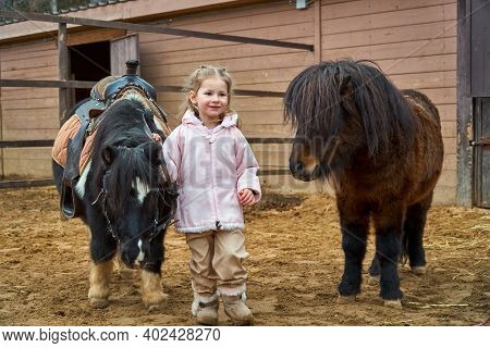 Girl And Pony. Child And Horses On Farm Paddock. Equestrian School. Hippotherapy
