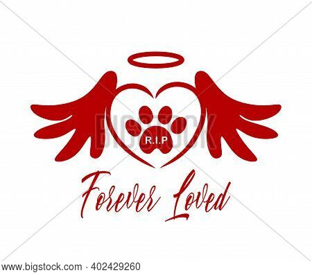 Red Vector Silhouette Of The Footprint Of A Pet's Paw In The Heart With Wings,halo.the Inscription R