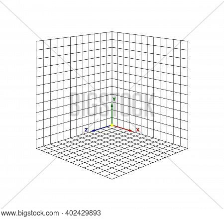 Cube Perspective Grid Three-dimensional. Vector Isometric Solid Shapes Projection. Geometry And Alge