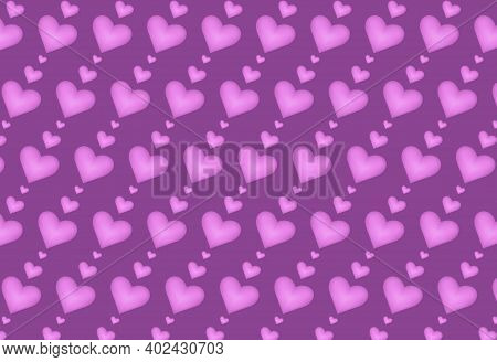 Purple Hearts On A Dark Lilac Background. Vector Illustration.
