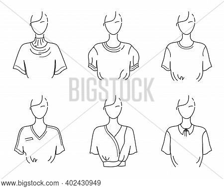 Womens White T-shirt, Blouse, Top, Set Of Schematic Vector Illustrations. Sketch Of Clothes Of Diffe