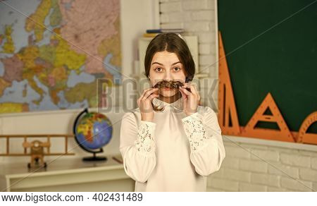 Back To School. Teacher Is Future Career. High School Student Learning Geometry In Class. Geography