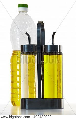 Kitchen Oil Or Vinegar Dispenser Set Includes Two Glass Bottle With Pour Spout And Stand.