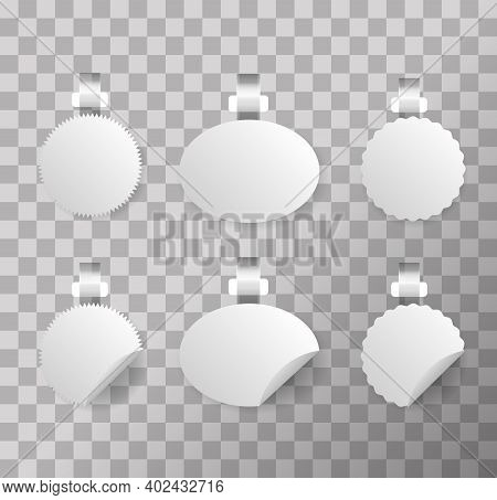 Wobblers Mockup Set. Blank Price Tags Hang On Wall. White Blank Advertising Wobblers Isolated On Tra