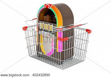 Classic Jukebox Inside Shopping Basket, 3d Rendering Isolated On White Background