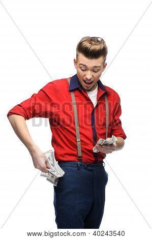 cheerful retro man holding money