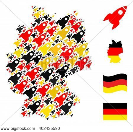 German Geographic Map Mosaic In German Flag Official Colors - Red, Yellow, Black. Vector Rocket Icon