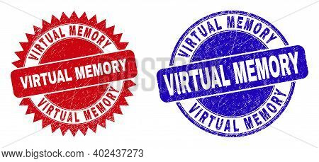 Round And Rosette Virtual Memory Seal Stamps. Flat Vector Grunge Seal Stamps With Virtual Memory Mes