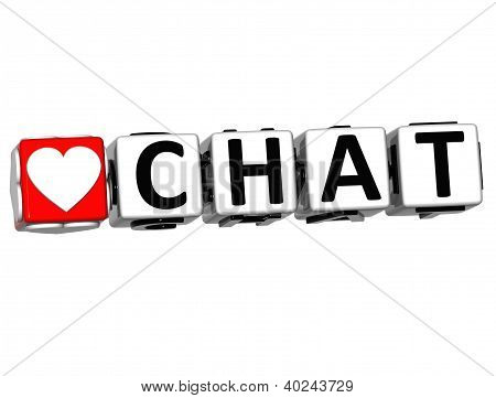 3D Love Chat Button Click Here Block Text