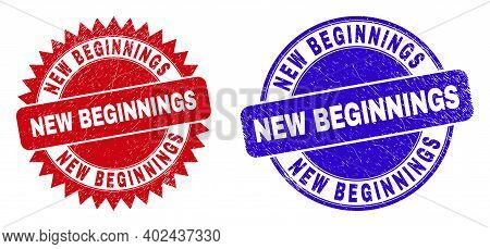 Rounded And Rosette New Beginnings Seals. Flat Vector Distress Watermarks With New Beginnings Tag In