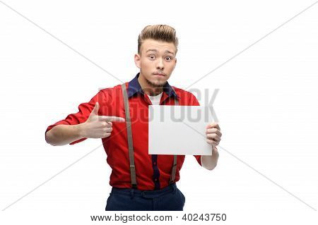 cheerful retro man holding sign