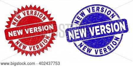 Round And Rosette New Version Seal Stamps. Flat Vector Distress Stamps With New Version Phrase Insid