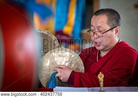 Atsagatsky Datsan Temple, Ulan Ude, Siberia, Russia - March 09, 2020 : Buddhist Monks Are Reading Ma