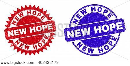 Round And Rosette New Hope Seal Stamps. Flat Vector Textured Stamps With New Hope Tag Inside Round A