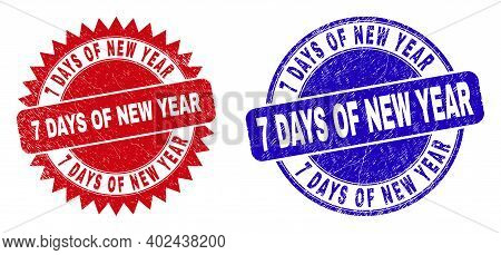 Round And Rosette 7 Days Of New Year Seal Stamps. Flat Vector Scratched Stamps With 7 Days Of New Ye