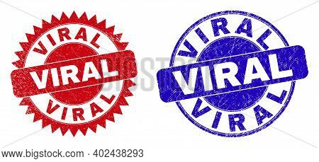 Round And Rosette Viral Seal Stamps. Flat Vector Grunge Seal Stamps With Viral Tag Inside Round And